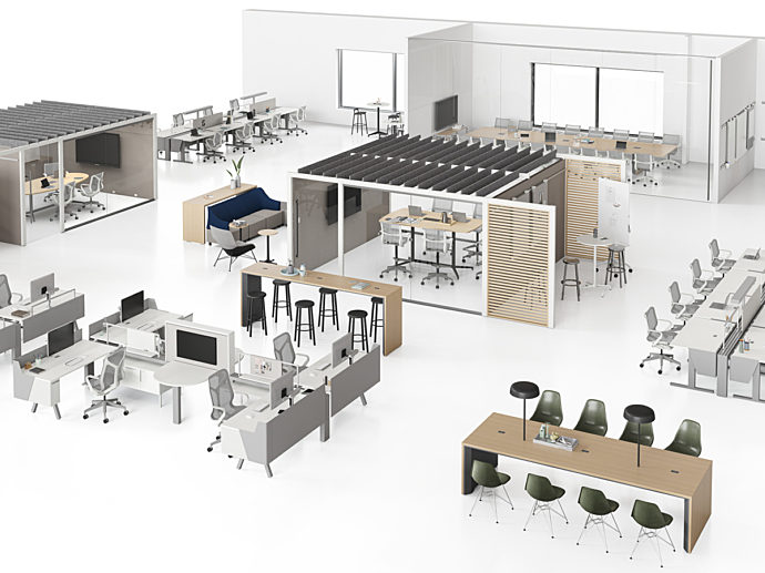 A high resolution CET image of an office floorplan design showing a variety of types of spaces and furniture applications