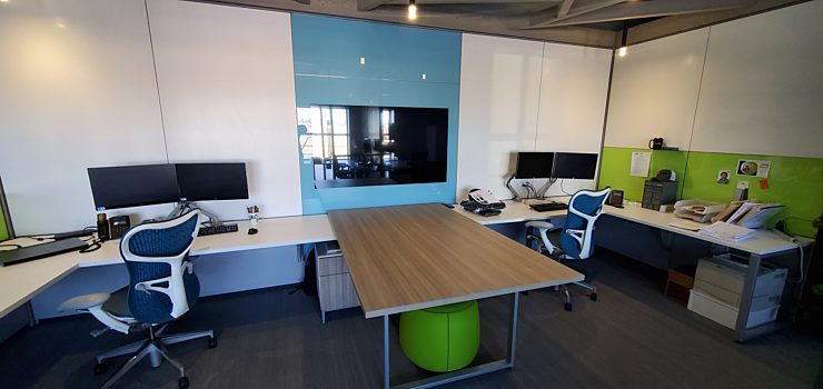 The AMP Interior Construction Office headquarters showcases many prefabricated construction solutions