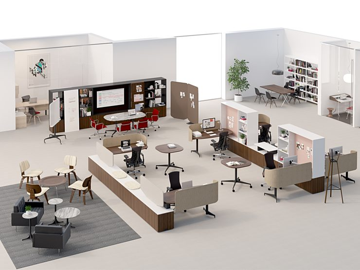 A computer generated 3D rendering of an executive suite of offices with a variety of setting types.