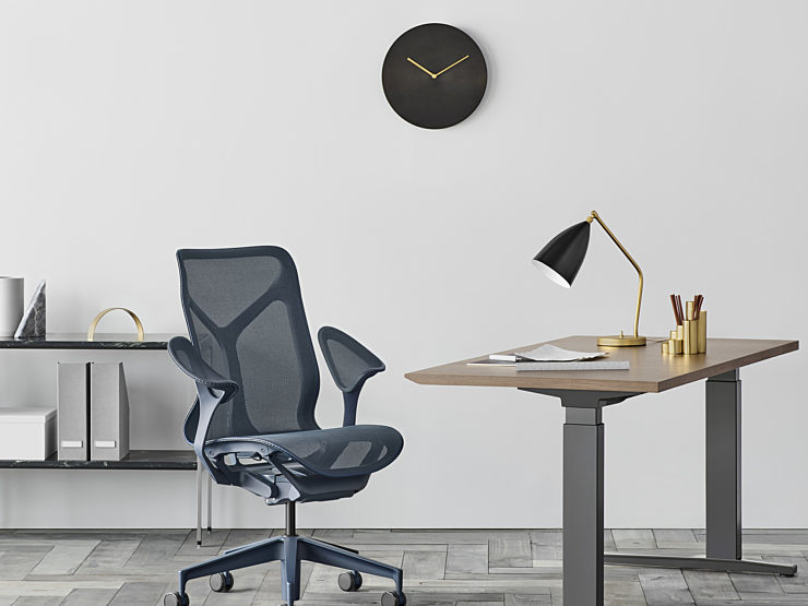Picture of Cosm Chair and Nevi Sit to Stand Table in a Home Office Setting